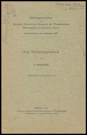 "1913, ""Zum Turbulenzproblem"""
