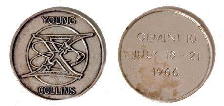 240A: Gemini GT-10 FLOWN 29mm Sterling Silver Medallion