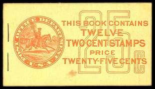 25c Red, Buff Complete Unexploded Booklet
