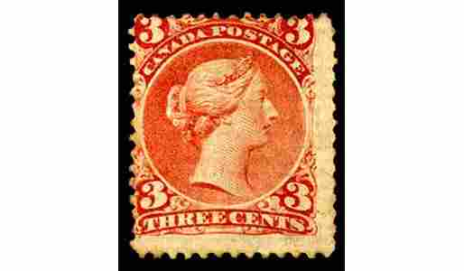 110: 1868, 3c Bright Red mint single on LAID