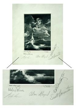 9023: Etching Signed by 4 Mercury Astronauts