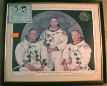 9124: Apollo 11 Armstrong Aldrin Collins Signed Photo