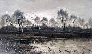 Camilla Fonce engraving, river view.