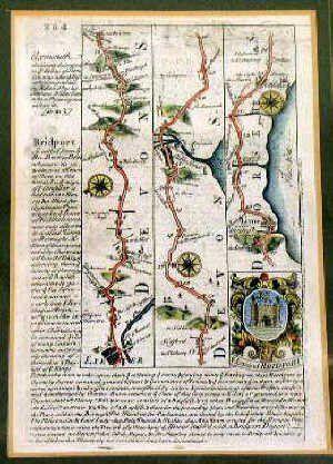 18th century hand coloured map of 'Bridpor