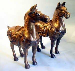 355: Pair of Oriental bronzed models of horse
