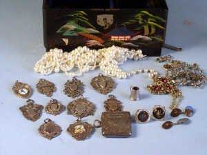 356: Box containing silver vesta case, 10 sil