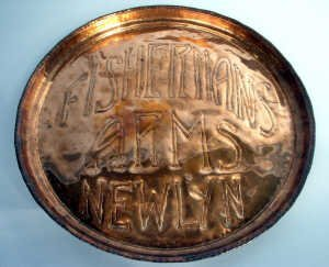 359: Newlyn copper circular tray with bevelle