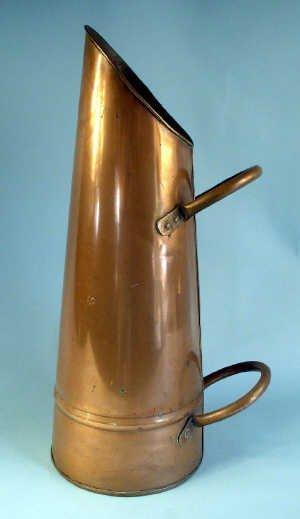 362: Copper coal hod with 2 loop handles. 60c