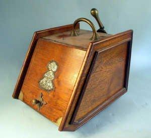 363: Late Victorian mahogany coal box with br