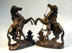 Pair of Spelter models of rearing horses