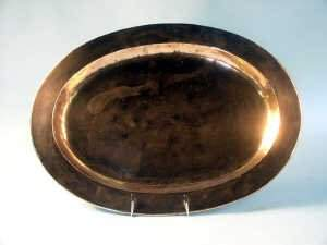 Oval copper meat dish. 37cm x 50.5cm.
