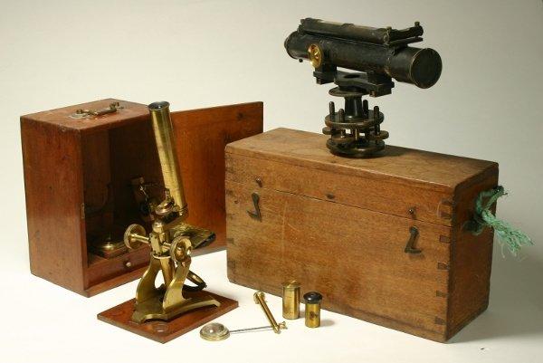 2: A Victorian lacquered brass monocular microscope, la