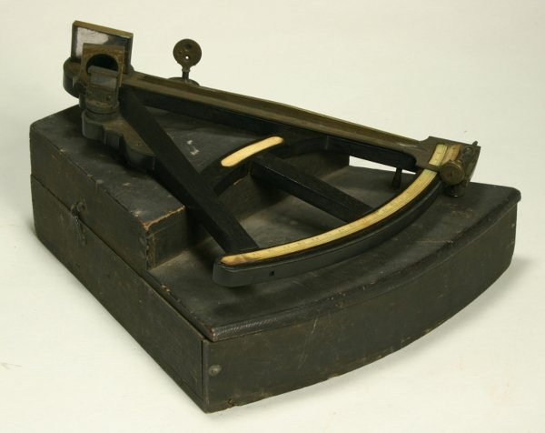 8: A George III ebony and brass octant, circa 1800, wit