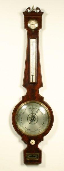 11: A Regency chevron strung figured mahogany mercury w