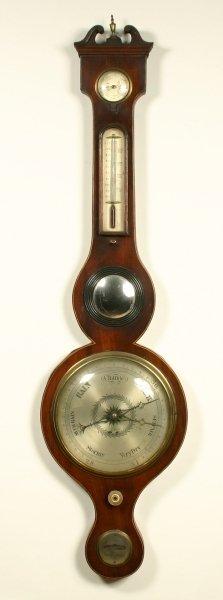 12: A Regency ebony and box strung mahogany mercury whe
