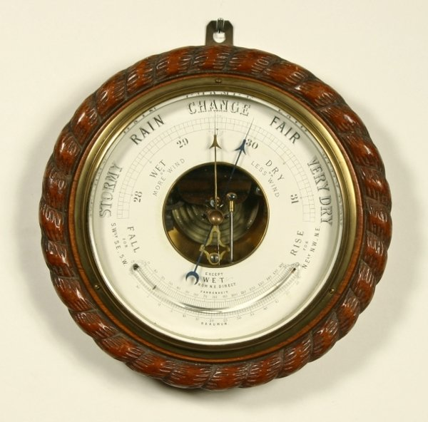 15: A Victorian carved oak aneroid wall barometer, late