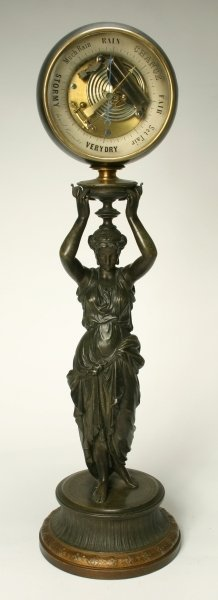 16: A Victorian patinated spelter figural table baromet