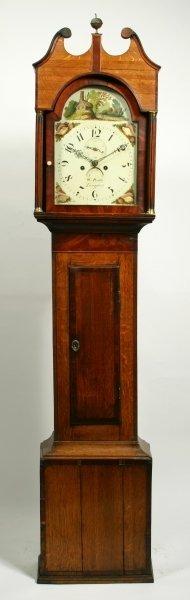 21: A mahogany crossbanded oak thirty hour longcase clo