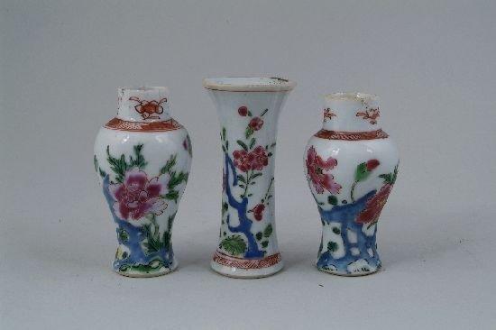 2005: A garniture of three Chinese famille rose miniatu
