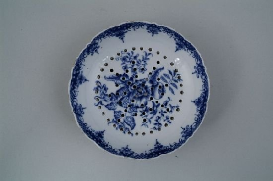 2008: A Chinese export blue and white strainer, painted