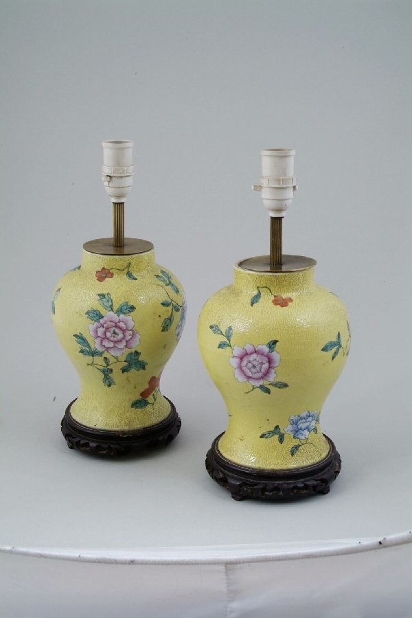 2021: A pair of 20th century Chinese table lamp bases,