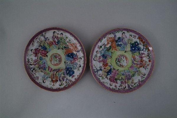 2022: A pair of Cantonese famille rose plates,each pain