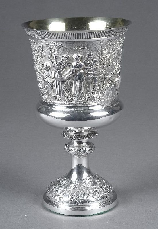 3016: A William IV English silver goblet, makers mark I