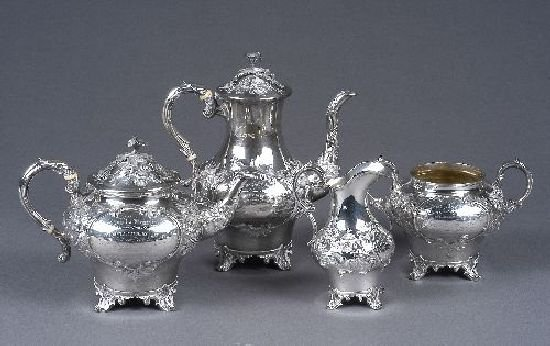 3019: A Victorian silver four piece tea and coffee serv