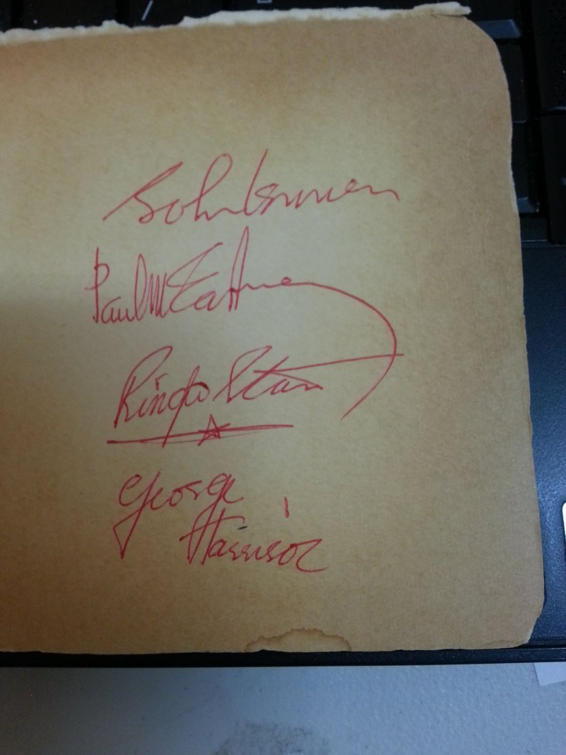 ALL 4 BEATLES IN RED PEN SIGNATURE CARD!-WITH LOA!