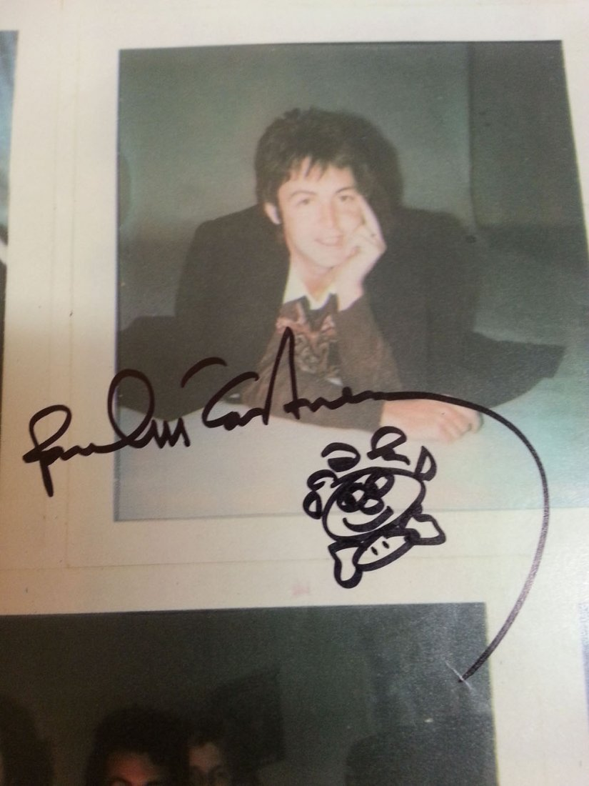 Paul Mccartney Signed Wings Poster With Doodle!