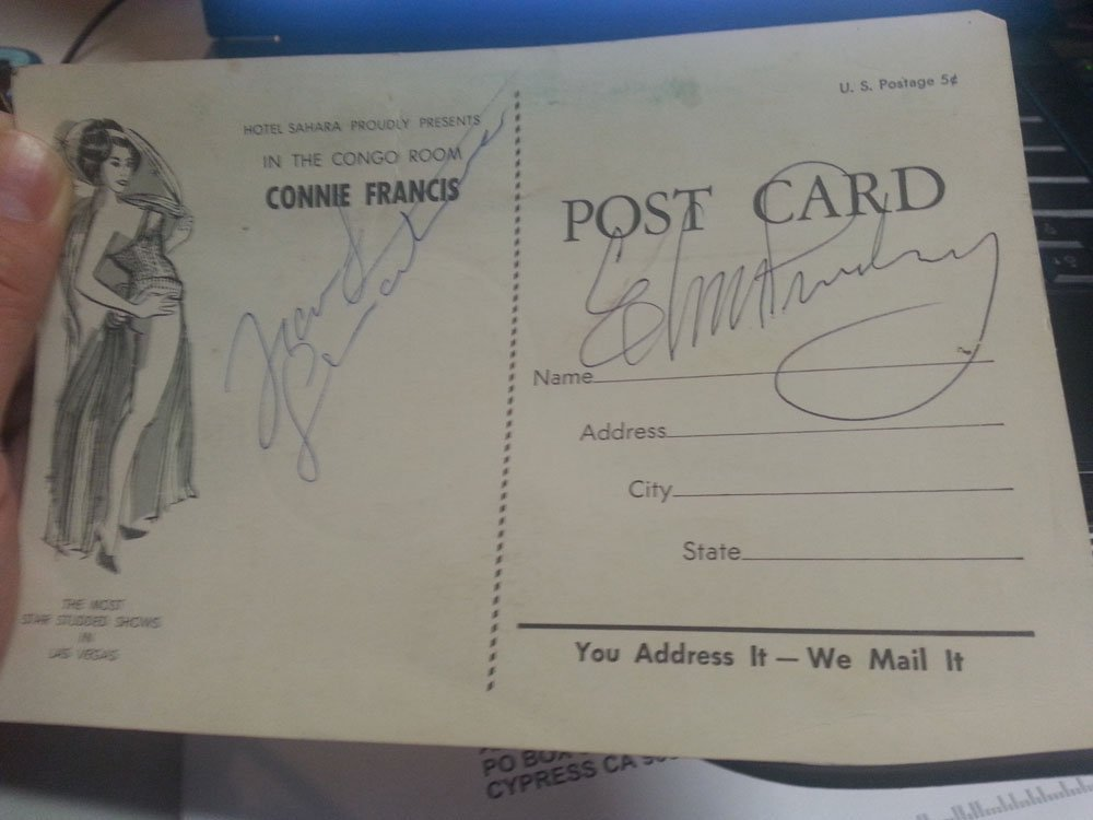ELVIS PRESLEY & FRANK SINATRA SIGNED POSTCARD! W/LOA!!