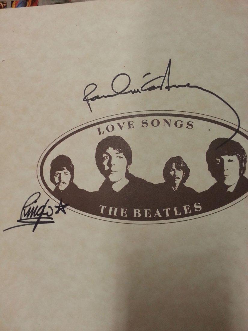 PAUL MCCARTNEY & RINGO STARR SIGNED BEATLES INSERT-LOA!