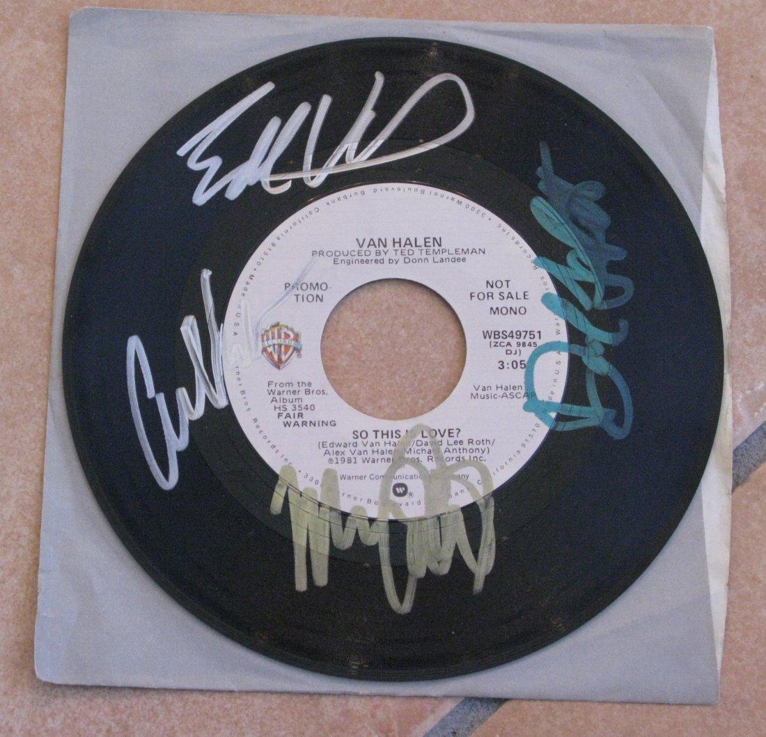 """Van Halen 45 7"""" Autographed all 4 members"""