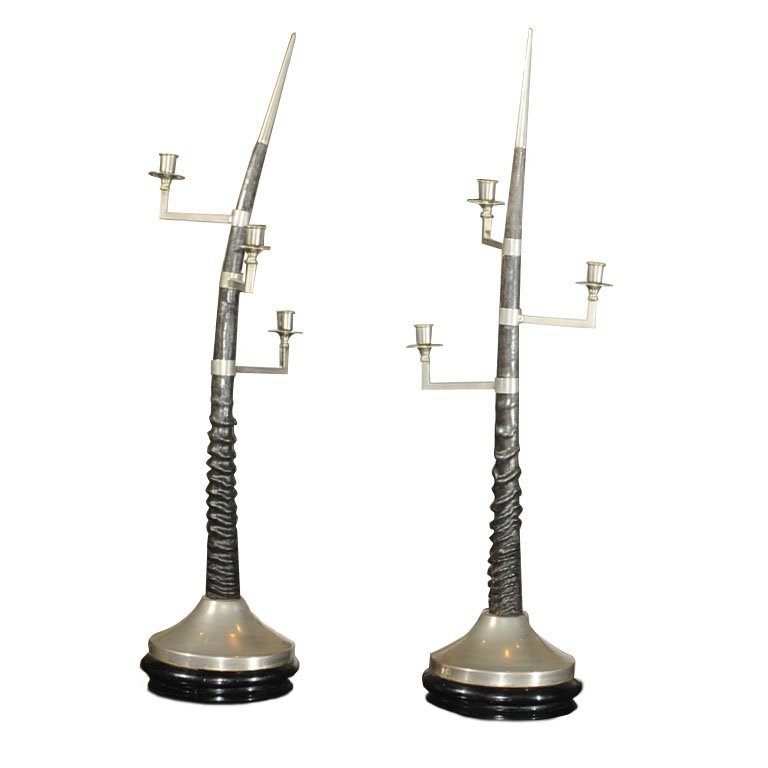 Pair of Oryx horn candelabra