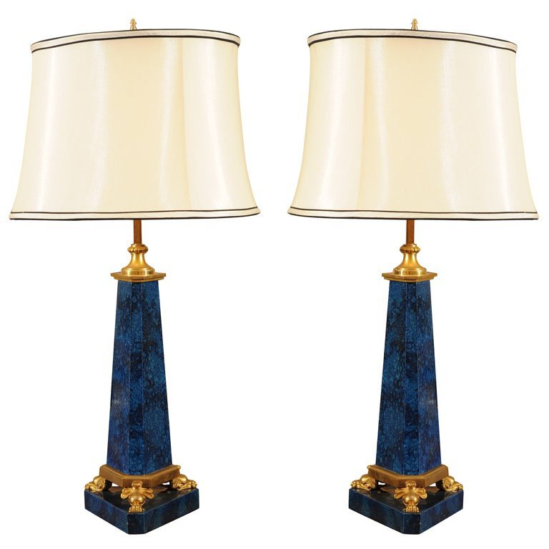 Pair of faux lapis lamps