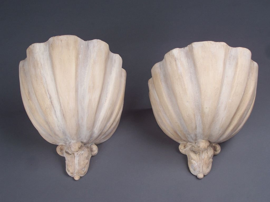 Pair of plaster sconces