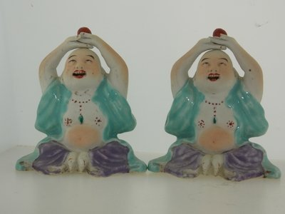 Pair of 19th Century Painted Buddha Statues