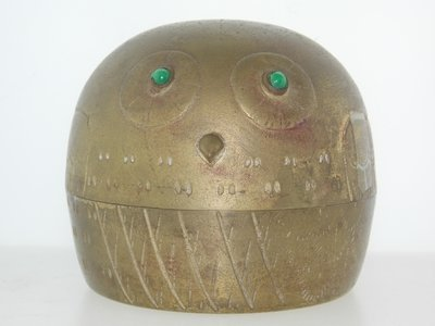 Vintage Brass Lidded Owl Container W/Gem Eyes