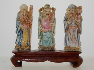 Polychrome Ivory 3 Elders on wooden base sculpture