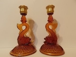 Beautiful Cambridge amber dolphin candle holders