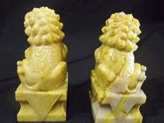 Pair of marble foo dog bookends - 2