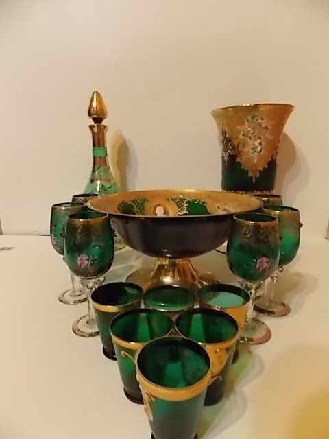 Painted Venetian (Murano) Emerald Green Glass Set