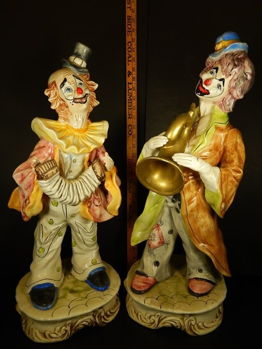 (2) LARGE  CAPODIMONTE  CERAMIC CLOWNS
