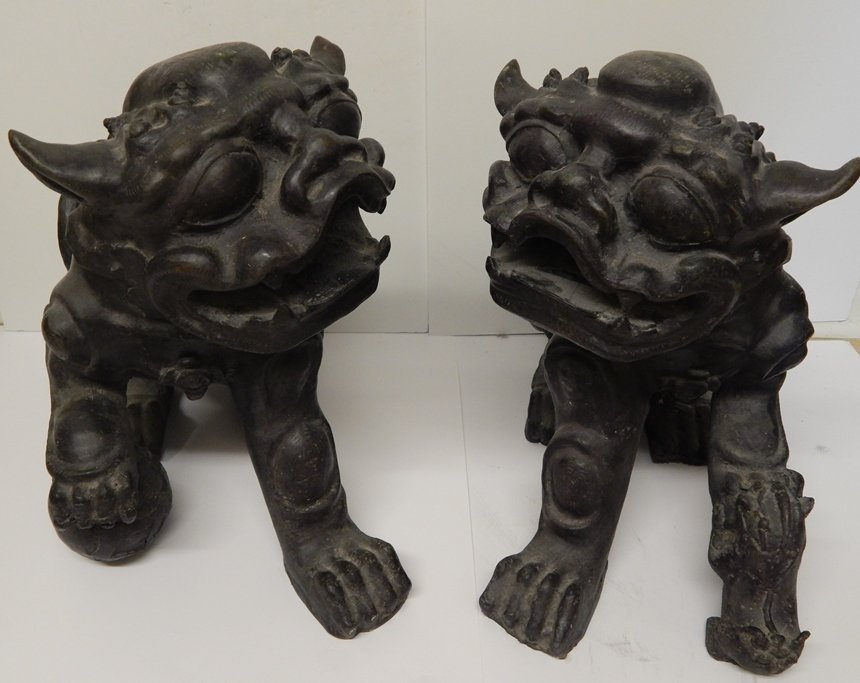 (2) ANTIQUE CHINESE  BRONZE FOO DOG STATUES