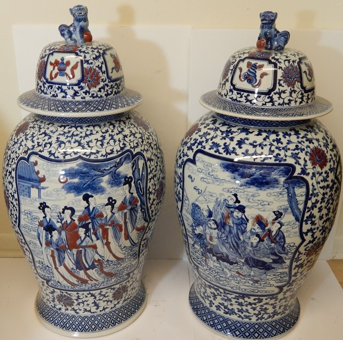 (2) MONUMENTAL CHINESE MARKED GINGER JARS