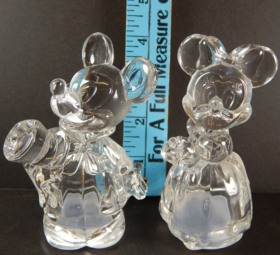 (2) LENOX CRYSTAL MICKEY & MINNIE SALT & PEPPER SHAKERS