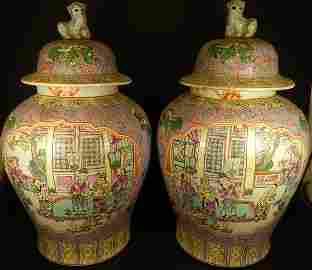 (2) ANTIQUE FAMILLE ROSE GINGER JARS
