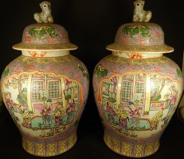 (2) ANTIQUE FAMILLE ROSE GINGER JARS
