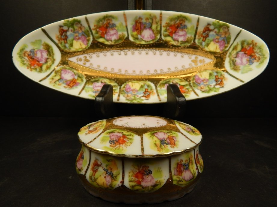 PAINTED PORCELAIN CANDY DISH & TRINKET BOX