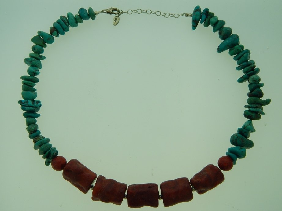 CORAL & TURQOUISE STERLING NECKLACE 18""
